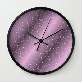 purple,Many pretty shamrocks in a design metal shiny festively elegant, for anyone from the family Wall Clock