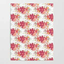 Pink coral teal hand painted floral illustration Poster