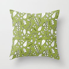 Scandi Leaves Throw Pillow