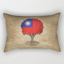 Vintage Tree of Life with Flag of Taiwan Rectangular Pillow