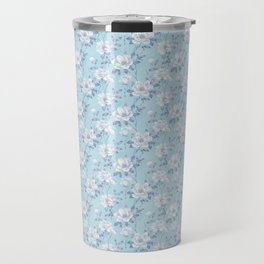 Light Blue Flower Pattern Travel Mug
