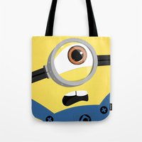 minion Tote Bags featuring Minion by Janice Wong