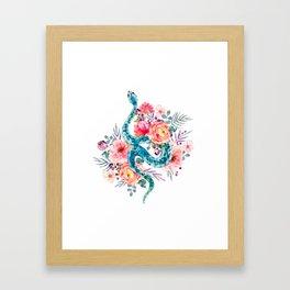 Blue Watercolor Snake In The Flower Garden Framed Art Print