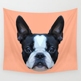 Frenchie / Boston Terrier // Peach / Apricot Wall Tapestry