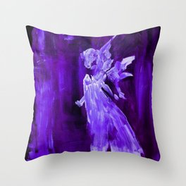 Guardian Angel - Dark Purple Throw Pillow