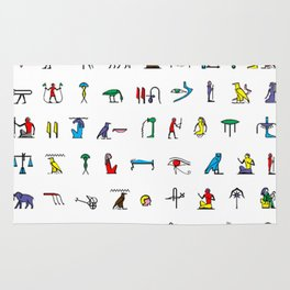 Egyptian hieroglyphics pattern Rug