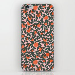 Oranges and Leaves Pattern - Pink iPhone Skin