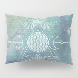 Mandala Flower of Life in Turquoise Stars Pillow Sham