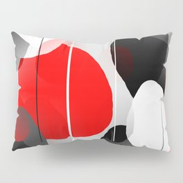 Modern Anxiety Abstract - Red, Black, Gray Pillow Sham