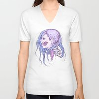 gore V-neck T-shirts featuring Pastel Gore Girl by Savannah Horrocks