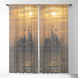 Pirate ship and pelican Sheer Curtain