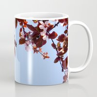 cherry blossom Mugs featuring Cherry Blossom by madbiffymorghulis