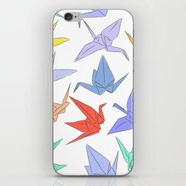 Japanese Origami paper cranes symbol of happiness, luck and longevity iPhone Skin