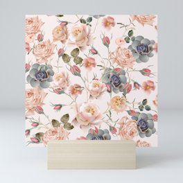 Beautiful floral vintage pattern with pastel pink and beige rose flowers Mini Art Print