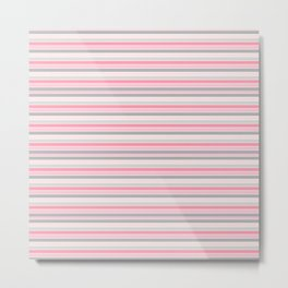 Gray and Pink Striped Pattern Metal Print