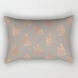Leaf Love Brown & Rose Gold Pattern Rectangular Pillow
