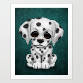 Cute Dalmatian Puppy Dog on Blue Art Print