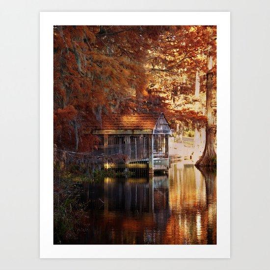 Boathouse in Autumn Art Print