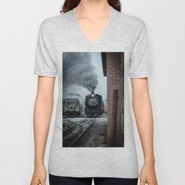 Strasburg Railroad Steam Engine #90 Vintage Train Locomotive Pennsylvania Unisex V-Neck