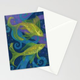 Golden Fishes, Blue &Yellow Stationery Cards