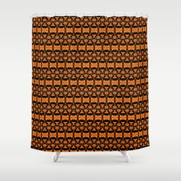 Dividers 02 in Orange Brown over Black Shower Curtain