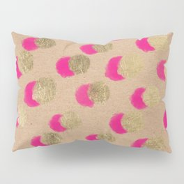 Modern Christmas watercolor neon pink gold foil polka dots on Kraft Pillow Sham