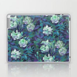 White roses, blue leaves Laptop & iPad Skin