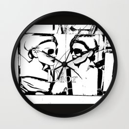 Sketched Fashion19 White on Black Wall Clock