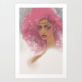 pink hair Art Print