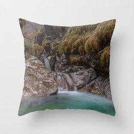 Waterfalls of Val Vertova Throw Pillow