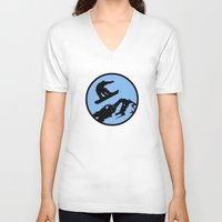 snowboarding V-neck T-shirts featuring snowboarding 3 by Paul Simms