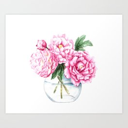 Pink Peony Painting, Watercolor Peony Art, Pink Flower Bouquet Art Print