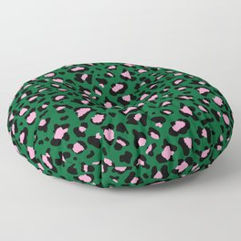 Leopard Print - green and pink Floor Pillow