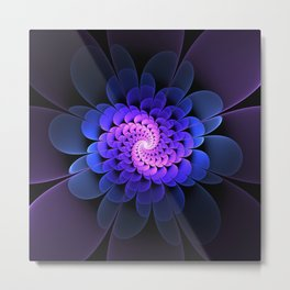 Spiraling Flower Fractal in Blue and Purple Metal Print