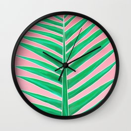 Modern green tropical palm tree leaf watercolor on pink Wall Clock