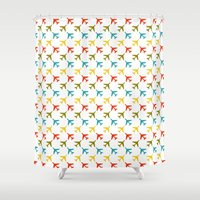 planes Shower Curtains featuring Colored planes by Yasmina Baggili