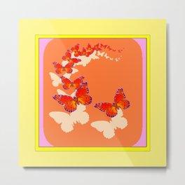 Monarch Butterflies Migration in Cumin Color & Yellow Art Metal Print