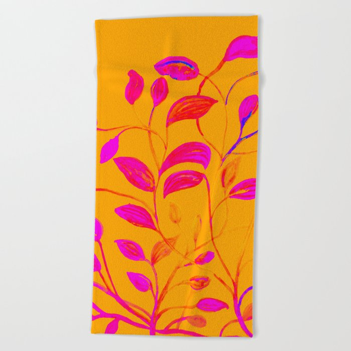 Peaches and Cream Red Leaves Beach Towel