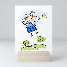 Happy Flying Angel Illustration Mini Art Print