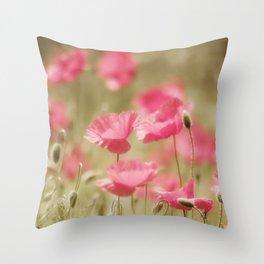 Poppy Dream in Pink Throw Pillow
