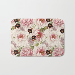 Small Vintage Peony and Ipomea Pattern - Smelling Dreams Bath Mat