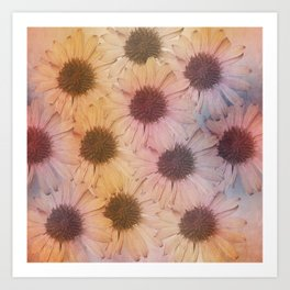 Floral carpet, textured painting Art Print
