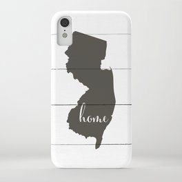 New Jersey is Home - Charcoal on White Wood iPhone Case