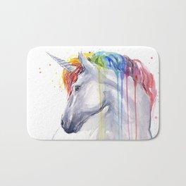 Rainbow Unicorn Watercolor Animal Magical Whimsical Animals Bath Mat