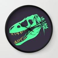 t rex Wall Clocks featuring T-Rex by attis