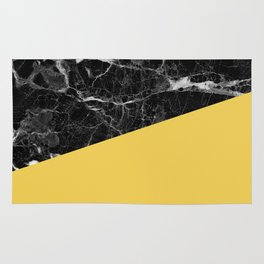 Black Marble and Primrose Yellow Color Rug