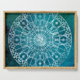 Rosette Window - Teal Serving Tray
