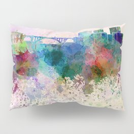 Luxembourg skyline in watercolor background Pillow Sham