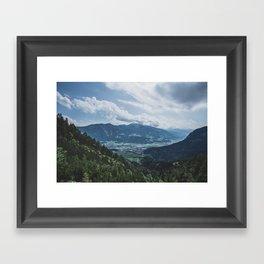 Beautiful austrian town between the mountains Framed Art Print