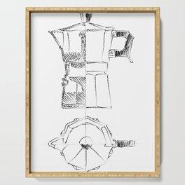 Coffee pot blueprint sketch Serving Tray